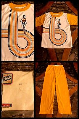 1970s Boys Pajama Set Short Sleeve Pants Sports Running Track 2 Pc VNTAGE Sz 12