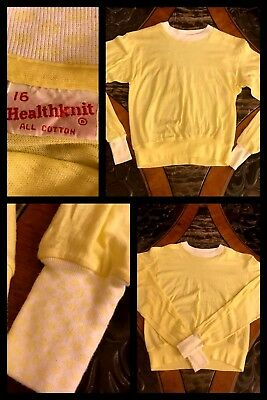 1970s New Vintage Pajama Top Sweatshirt Yellow Long Sleeve Soft Cotton Sz 16
