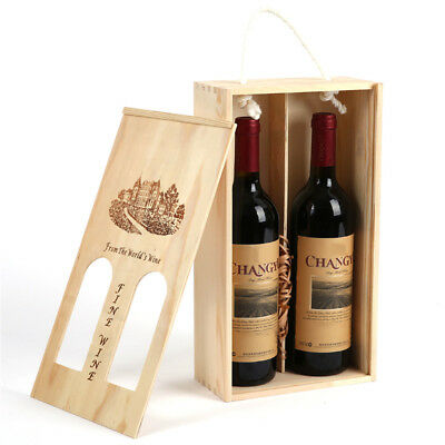 Handmade Vintage Wooden Wine Storage Box Case for Double Bottles Craft Gift