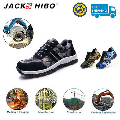 JACKSHIBO Mens Work Safety Shoes Breathable Outdoor Steel Toe Construction Shoes