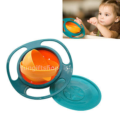 360 degree Rotate Spill Proof Food feeding Gyro Bowl Dishes with lid Baby Kid