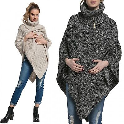 Happy Mama. Women's Maternity Nursing Knit Poncho Sweater Jumper Turtle Neck 910
