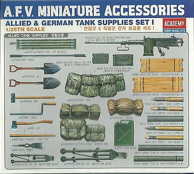 Academy 1:35 Kit Set Accessori Allied & German Tank Supplies Set I  Art. 1382