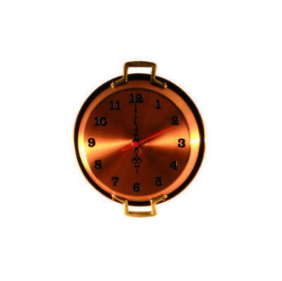 Wall clock copper polished pot pan 18 cm
