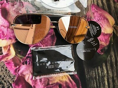 Quay X Desi Perkins High Key Mini Mirrored Sunglasses In Gold / Gold With Tags