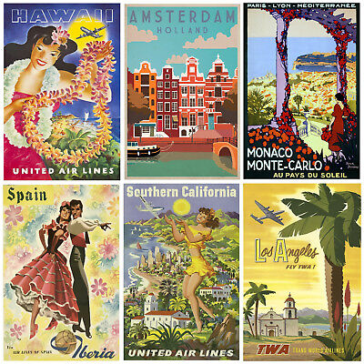Vintage Travel Posters Wall Art A2 Prints