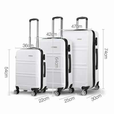 3Pcs Hard Shell Luggage Set Lightweight Travel Suitcase Spinner TSA Lock White