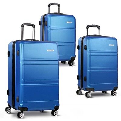 3Pcs Hard Shell Luggage Set Lightweight Travel Suitcase Spinner TSA Lock Blue