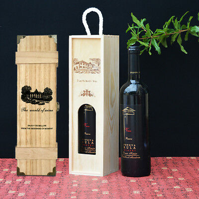 Pine Wood Wooden Vintage Wine Storage Gift Box for Single Bottle Case Holder