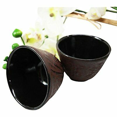 Japanese Cast Iron Tea Cups Set Of Two Bamboo Design Red Burgundy Color