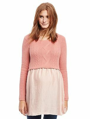 NWT Motherhood Maternity Pink Dusty Rose Babydoll Sweater M L
