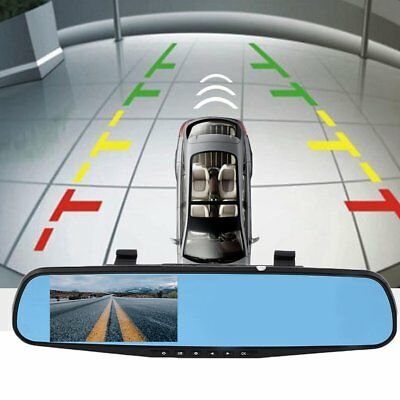 "HD 4.3"" 1080P Dual Len Video Recorder Dash Cam Rearview Mirror Car Camera DVR y@"