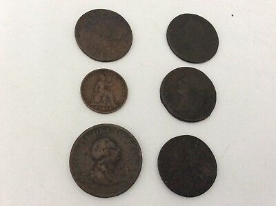 Collection of 6 antique coins pre Victorian