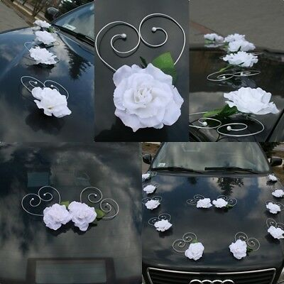 WHITE HEARTS wedding car decoration ribbon bows, prom limousine decoration venue