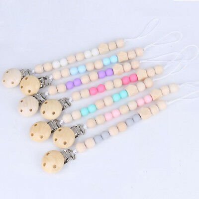 Baby Infant Wooden Beaded Pacifier Holder Clip Nipple Teether Dummy Strap Chain