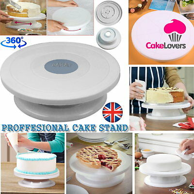 New Cake Decorating Rotating Turntable Stand Easy to Clean White 28cm UK