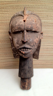 """RARE 14"""" Antique Early African Tribal Carved Wood Staff Head Kuyu ? Congo Africa"""