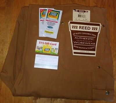 NEW REED BROWN DUCK BIB OVERALL Size 50X32 UNLINED INDUSTRIAL WORK UNIFORM