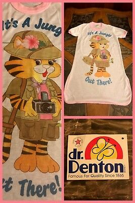 1970s Girls Night Gown VINTAGE Dr Denton Short Sleeve Polyester Cat Tiger Sz 12