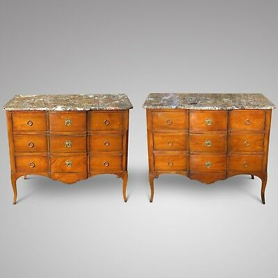 Pair Of Superb Quality Marble Topped French Style Cherry Wood Chest Of Drawers