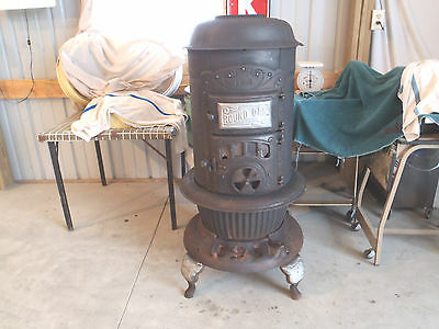 Antique Original Round Oak Wood Burning Burner Cast Iron Stove 18-0-3 Vintage