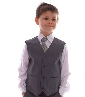 Boys Smart Grey Waistcoat Wedding Pageboy Party Prom 0-3 months - 14 years