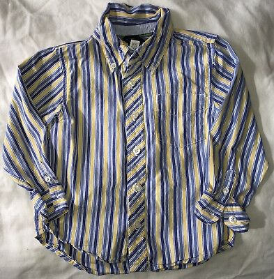 Boys Size 4T Baby Gap Blue Yellow L/S Dress Top Button Up Shirt Dress up Holiday