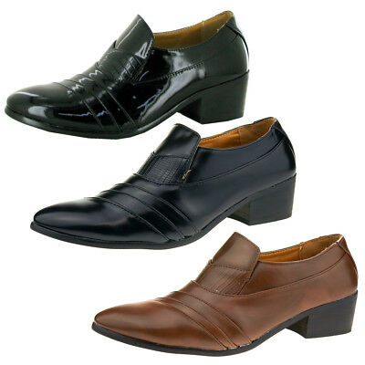 96d21d778a1 Mens Italian Formal Dress Shoes Slip On Cuban Heel Smart Leather Shoes Size