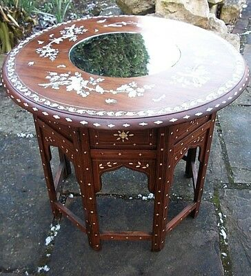 Outstanding  Antique  Octagonal Folding  Anglo/ Indian  Inlaid Side Table