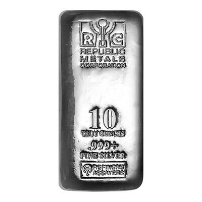 10 oz Republic Metals Corporation Cast Silver Bar