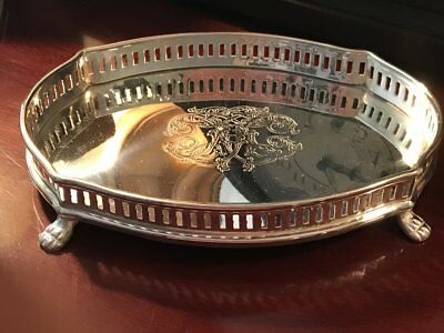 NEW Silver Tray Engraved Gallery Oval Jewelry Tray Footed