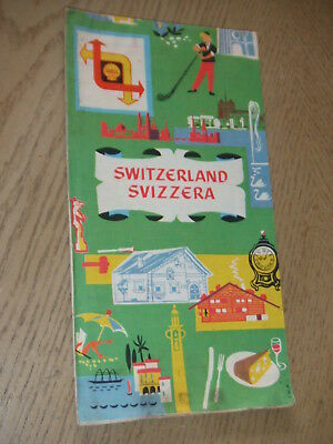 VINTAGE 1958 PROMO Shell Oil Gas Switzerland Highway Road Map Tourist Guide SUI