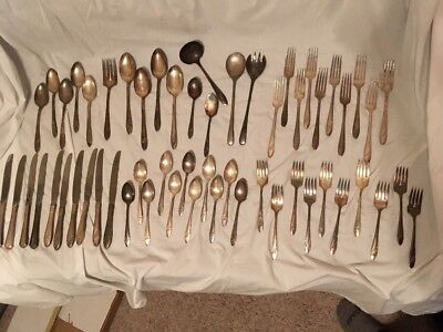 Antique Vtg 56 Piece Silverplate Flatware Lot Crafts Mixed