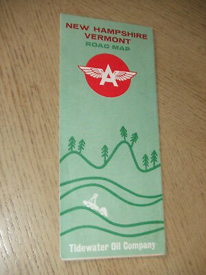 1963 Flying A Tidewater Oil Gas New Hampshire Vermont State Highway Road Map VT