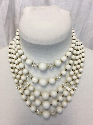 Vintage 50's 5 Strand White Bead Necklace. Clear And Amber Glass Spacers.