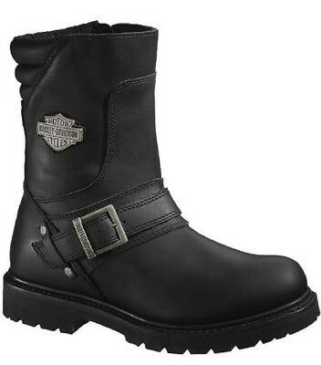 """Harley-Davidson Mens 8.25"""" Booker Black Leather Motorcycle Riding Boots D95194"""