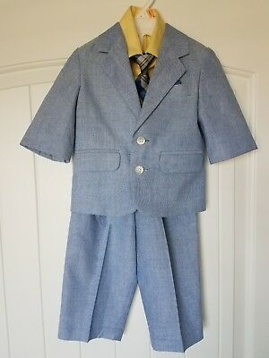 Baby boys yellow and blue 4 piece suit 12 months