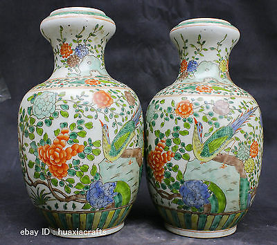 Collect Chinese Private Famille Rose porcelain Pottery Flower Bird Vase Bottle
