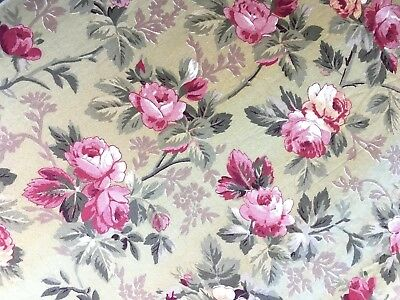 Antique French Roses Fabric Vintage Cotton Material Pink Red Floral