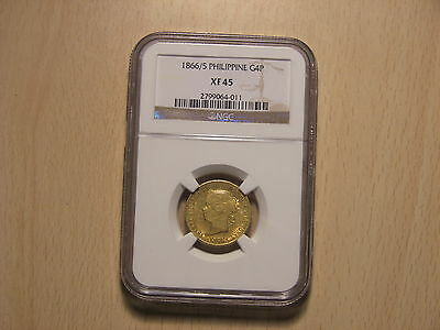 1866/5  NGC XF45 Philippines Gold 4 Pesos . RARE and PREMIUM QUALITY !