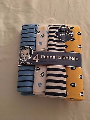 NWT Gerber newborn flannel blankets 4 pack multi-purpose baby gift sports NEW