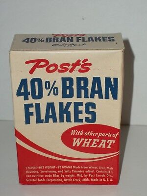 Free Sample Size POST'S CEREAL 40%BRAN FLAKES NOS BOX General Foods Battle Creek