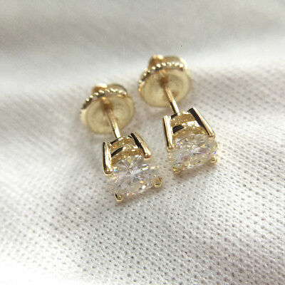 176d83a88 6.5mm Moissanite Stud Earrings Round Brilliant Cut Screw Back 14K Yellow  Gold