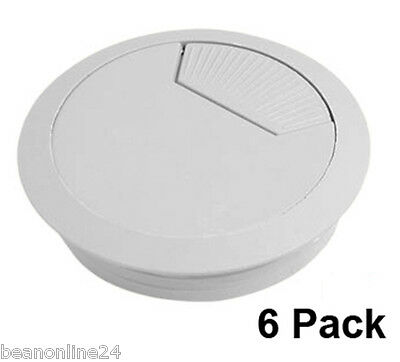 6 Pack Desk Grommet Cable / Cord Tidy 60mm LIGHT GREY