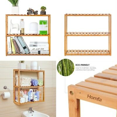 3Tier Kitchen Storage Rack Basket Wall Mounted Stand Bamboo Organiser Display AU