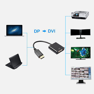 DisplayPort DP to DVI Male to Male Adapter Cable Converter for Laptop PC DVD ON