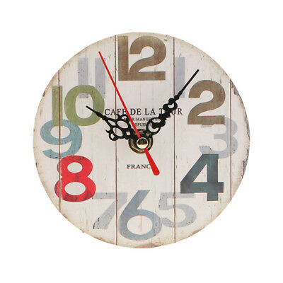 Retro Wooden Wall Clock Round Table Desk Clock Antique Home Decorative 5#
