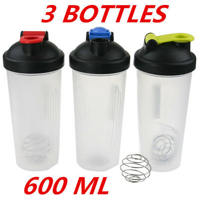 3x 600ml SPORTS DRINK WATER BOTTLE PROTEIN GYM SUPPLEMENT SHAKER MIXER SCREW TOP