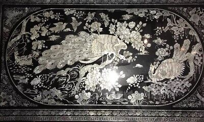 Korean Folding Tea Table. Black Laquer Mother Of Pearl Peacock Inlay 48u201dx29u201d