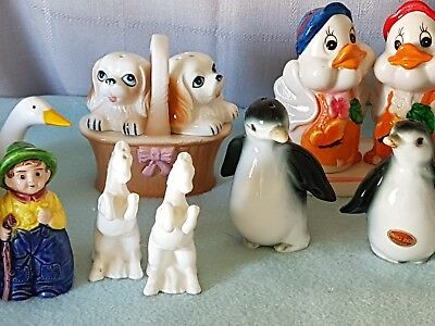 MAGNIFICENT VINTAGE CERAMIC SALT N' PEPPER x8 COLLECTION. INCLUDES BONE CHINA.
